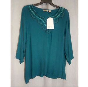 NWT Art and Soul Green 3/4 SleeveTunic Top Size 2X